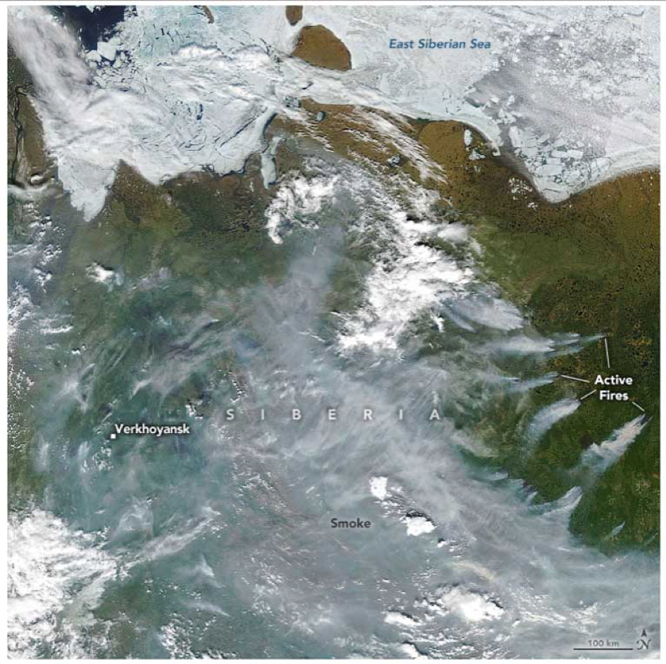 Active Siberian fires June 23, 2020. Image courtesy of NASA.