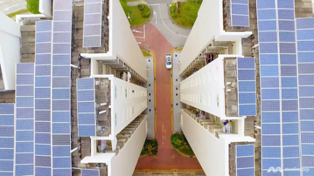 Solar panels on the rooftop of some HDB flats