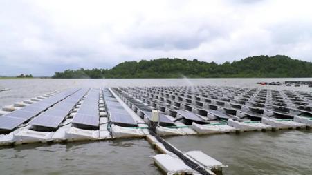 Floating solar panels testbed on Tengah Reservoir
